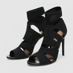 ZARA Black Wraparound Fabric Heels Size EU36 US6